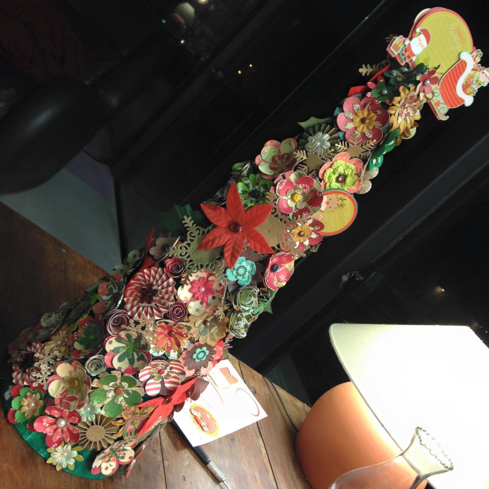 arvore de natal de flores de scrap