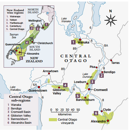 central otago winw map gibbston