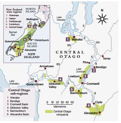 central otago winw map gibbston